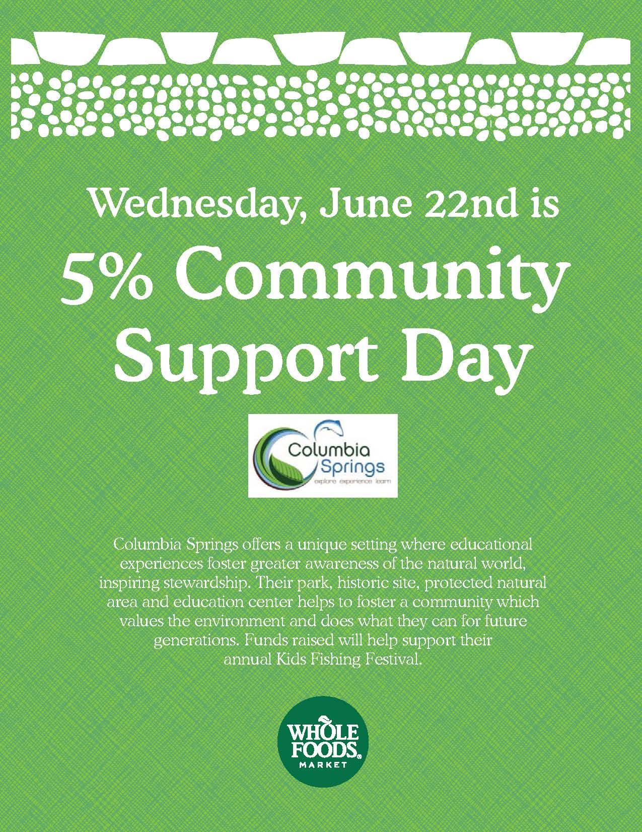 Buy Tasty Food, Support Columbia Springs!